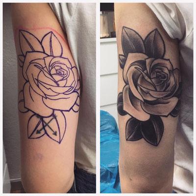 Chicano Style Rose auf dem Oberarm