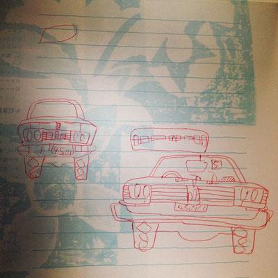 車のディテイールを観察しているのは、そこで観て書いてるんじゃなくて、記憶で書いているなですよ。多分、2歳頃。