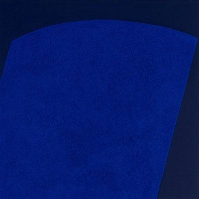 Dunkelblauer Stoff, Pigment - Marmormehl, Ultramarinblau - 80 x 80 cm, 1997