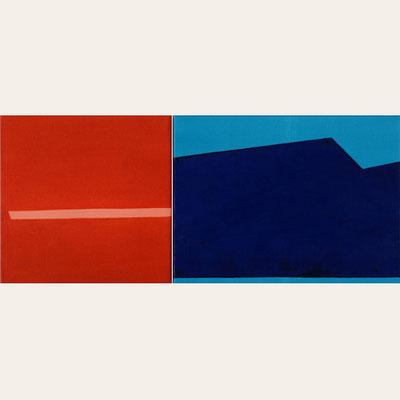 Links: Rosa Stoff, Pigment - Lasurrotorange - 30 x 30 cm, 2010 Rechts: Blaugrüner Stoff, Pigment - Pariserblau- 30 x 40 cm, 2010