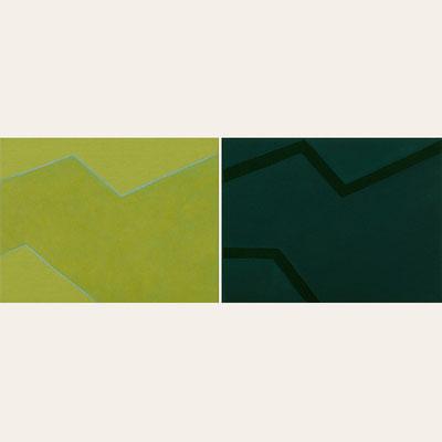 Links: Hellgrüner Stoff, Pigment - Malachit, Glasmehl, Zeisiggrün - 30 x 40 cm, 2010 Rechts: Dunkelgrüner Stoff, Pigment - Kobaltflaschengrün - 30 x 40 cm, 2010