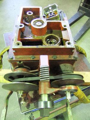 Ausgebautes Vorschubgetriebe