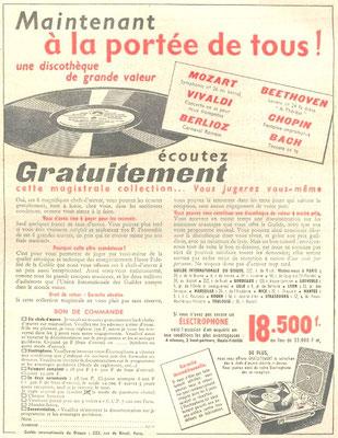 Publicité pour La Guilde Internationale du Disque