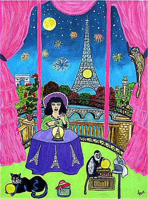 Pariser Zaubernacht, 40 x 30 cm, Acryl auf Leinwand