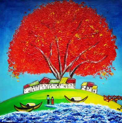 Tree of Joy, 40 x 40 cm, Mischtechnik auf Leinwand
