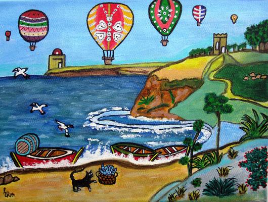 Küstenblick, 30 x 25 cm, Acryl auf Leinwand