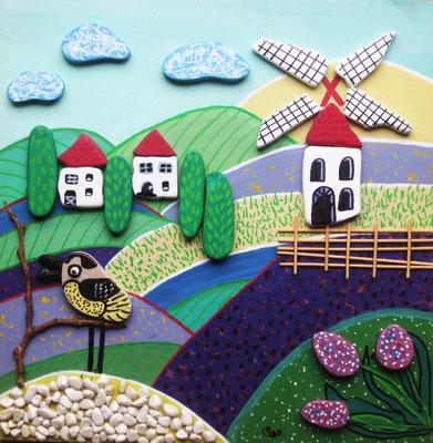 Mühle (Collage auf Holz, 30 x 30 cm mit bemalten Steinen)