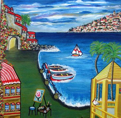 Sommertag am Meer, 30 x 30 cm, Acryl auf Leinwand