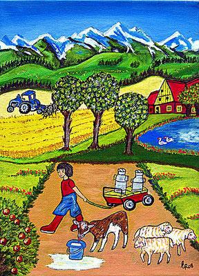 Bauernjunge, 30 x 25 cm, Aryl auf Leinwand