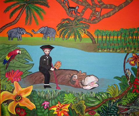 Henri im Paradies, 60 x 50 cm, Acryl auf Leinwand mit Rahmen