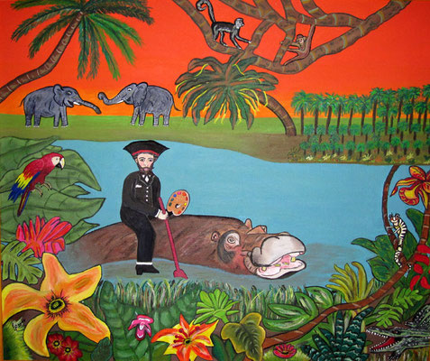 Henri im Paradies, 60 x 50 cm, Acryl auf Leinwand