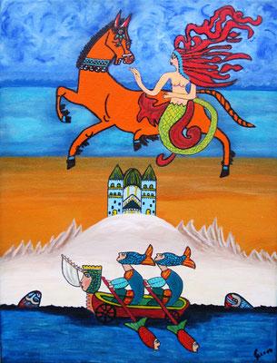 Wolkenritt, 40 x 30 cm, Acryl auf Leinwand