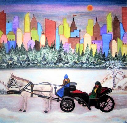 New York im Schnee, 80 x 80 cm, Acryl auf Leinwand