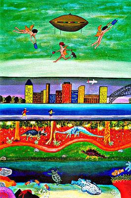 Himmel und Erde, 70 x 50 cm, Aryl auf Leinwand