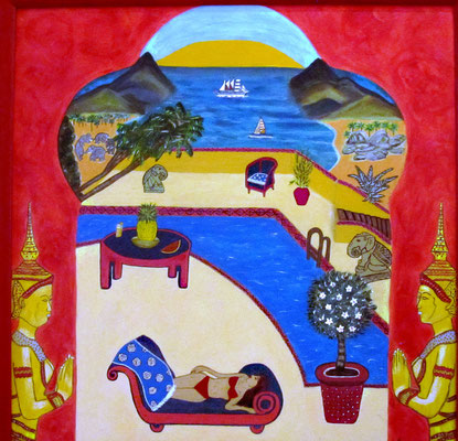 Thaivilla, 40 x 40 cm, Acryl auf Leinwand