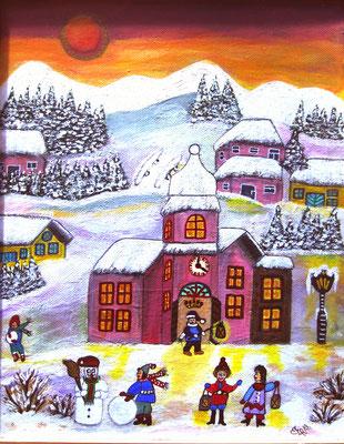 Winterfreuden, 30 x 25 cm, Acryl auf Leinwand
