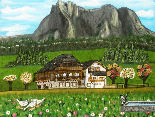 Haus Dolomitenblick, 60 x 50 cm, Acryl auf leinwand