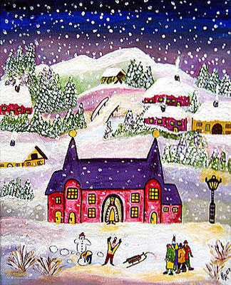Schloss im Schnee, 30 x 25 cm, Acryl auf Leinwand