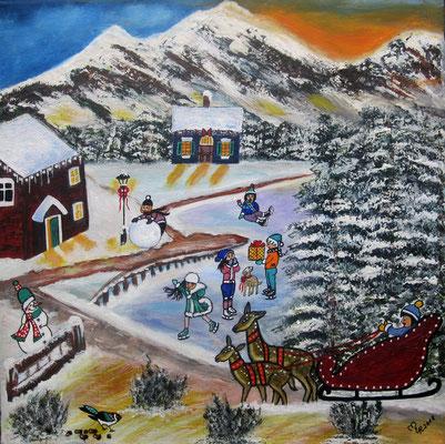 Winterdorf, 40 x 40 cm, Acryl auf leinwand