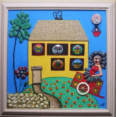 Katzenhaus (Collage auf Leinwand, 40 x 40 cm mit bemalten Steinen)