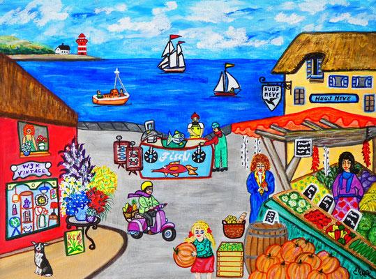 Wochenmarkt auf der Insel, 40 x 30 cm, Acryl auf Leinwand