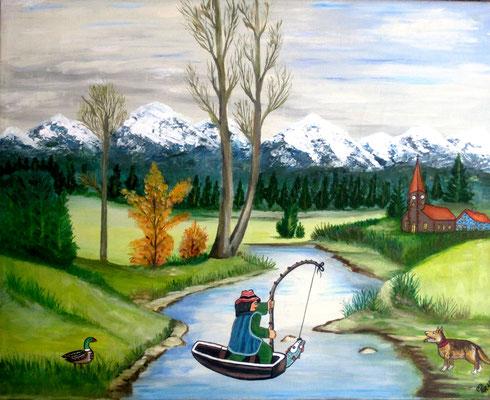 Fischers Fritz, 60 x 50 cm, Acryl auf Leinwand