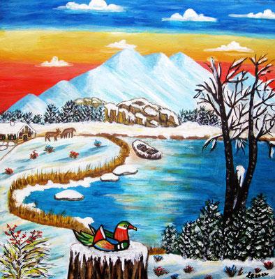 Ente am Eissee, 30 x 30 cm, Acryl auf Leinwand