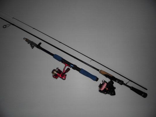 カマス釣り アジングタックルとパックロッドの写真