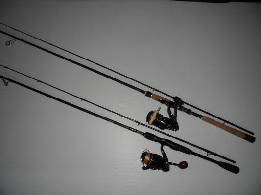カマス釣り シーバスタックルとエギングタックルの写真