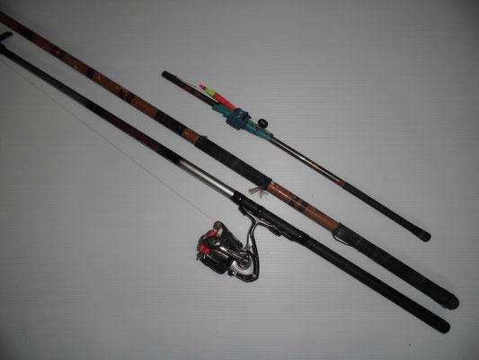 サヨリ釣り 磯竿と延べ竿の写真