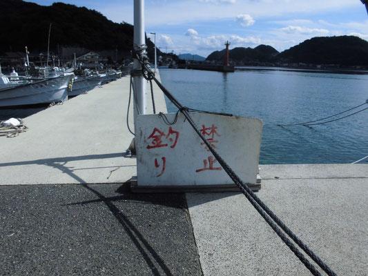 田ノ浦漁港 釣り禁止の看板の写真
