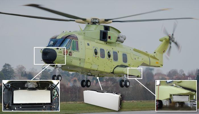 Il posizionamento dell'apparato sull' AW101 nella configurazione norvegese.