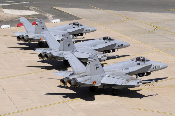 """F/A-18 """"Hornets"""" di Gando (Foto: Ejército del aire)"""