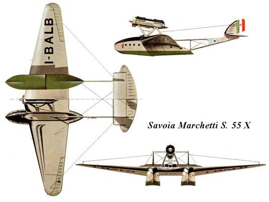 Disegno del Savoia Marchetti S.55