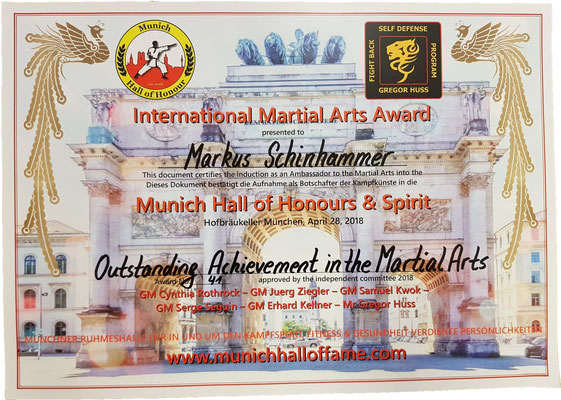 Outstanding Achievement in the Martial Arts