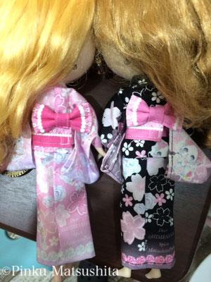 はんなり和風リミィちゃん姫ピンク、姫黒浴衣」ネオデザイン後ろ