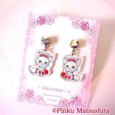 お姫様の耳飾り ピアス/イヤリング (白猫リミィちゃんのさくらんぼ柄)