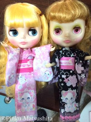 はんなり和風リミィちゃん姫ピンク、姫黒浴衣」ネオデザイン前