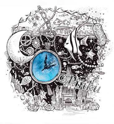 ペン、水彩「いつか夢見る世界」