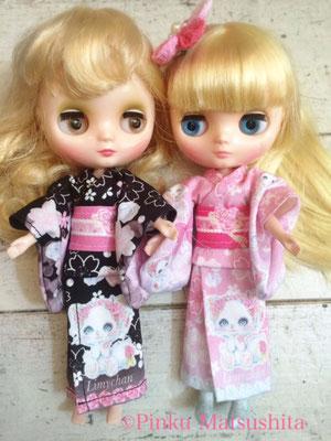 「はんなり和風リミィちゃん姫ピンク、姫黒浴衣」ミディデザイン前