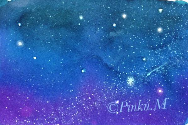 水彩「紙の上の僕の星空」