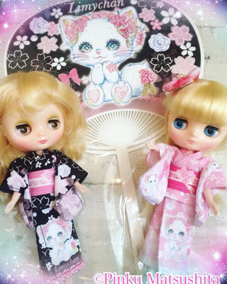 「はんなり和風リミィちゃん姫ピンク、姫黒浴衣」ミディデザイン