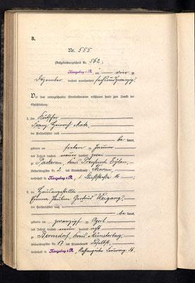 Heirat Franz Heinrich Matz mit Emma Pauline Gertrud Weigang