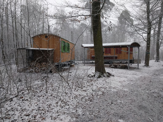 Unsere Bauwägen im Winter