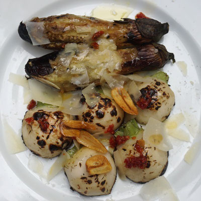 Grilled aubergine and turnips with sun dried tomato&garlic olive oil.