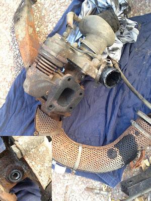 der übeltäter und schlimmster rückschlag bisher. abgerissene schraube -> turbolader musste ab...aber das übel ging weiter