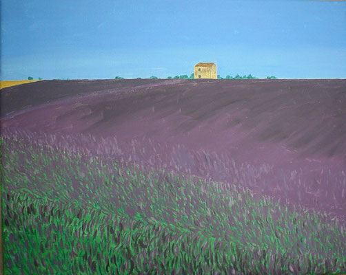 """Lavendelfeld in der Provence"" Acryl auf Leinwand 40x50 cm 06.2004"