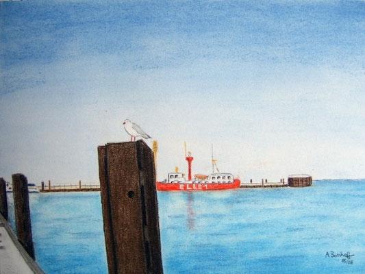 """Die Elbe 1"" in Cuxhaven Pastell auf Tonpapier DIN A4 Format 05.2008"