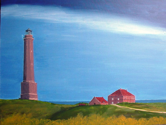 """Leuchtturm Norderney"" Acryl auf Leinwand 50x60 cm 02.2004"