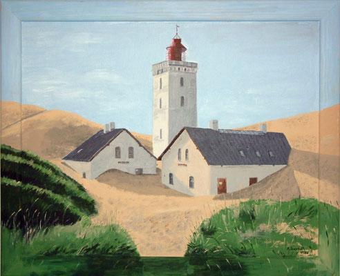 """Versandeter Leuchtturm Rubjerg Knude in Dänemark"" Acryl auf gerahmten Karton 40x50 cm 10.2002"